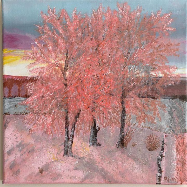 "Winter Sunrise, Acrylic, 12x12"" - Art Studio by Rimma"