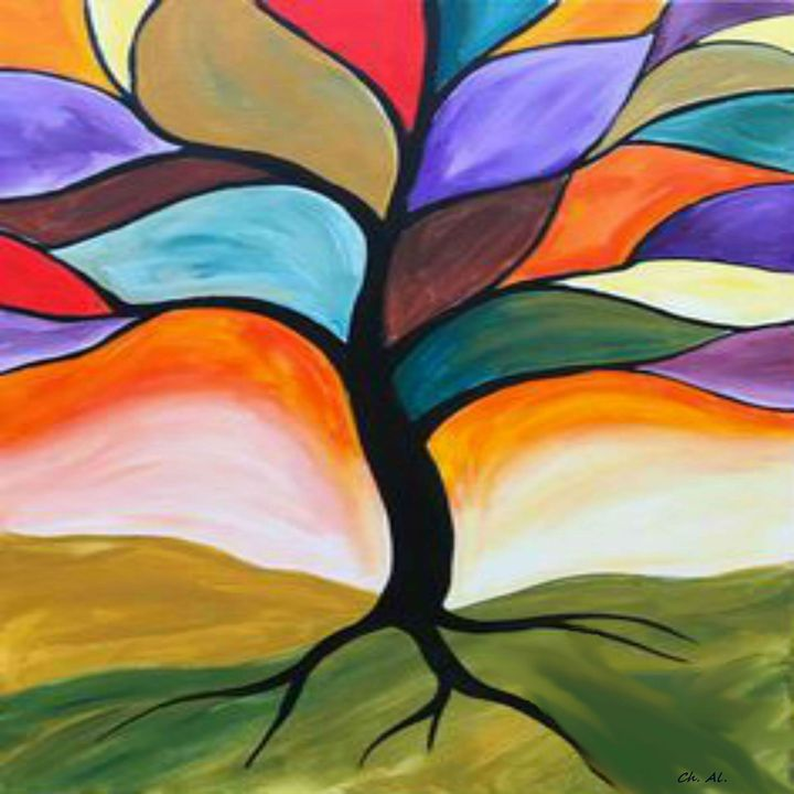 Fall Stained Glass Tree - Fleurdelis