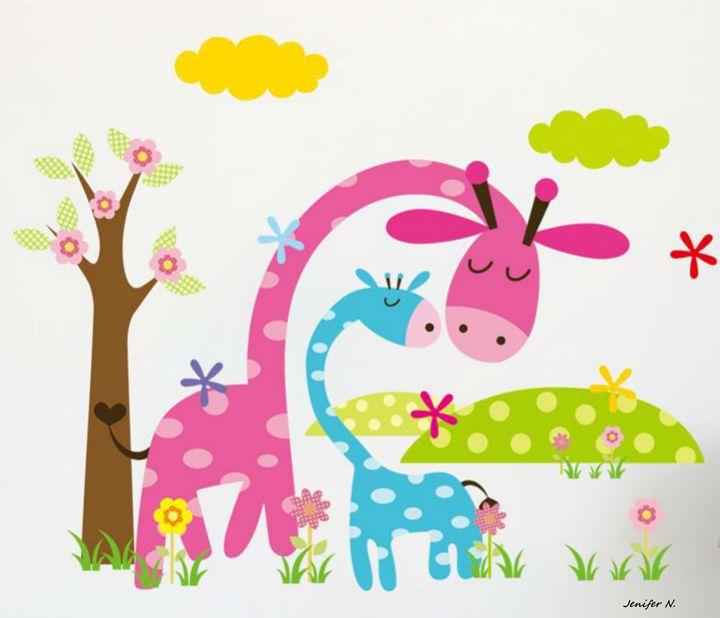 Pink and Blue giraffes - Fleurdelis