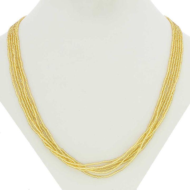 6 strands yellow Bead Glass Necklace - Fleurdelis