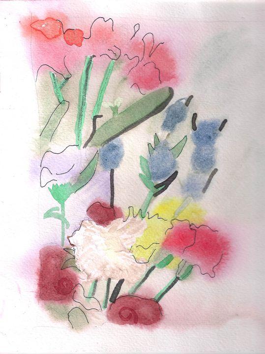 Flowers Wet On Wet Watercolor - Artworksbylatidra