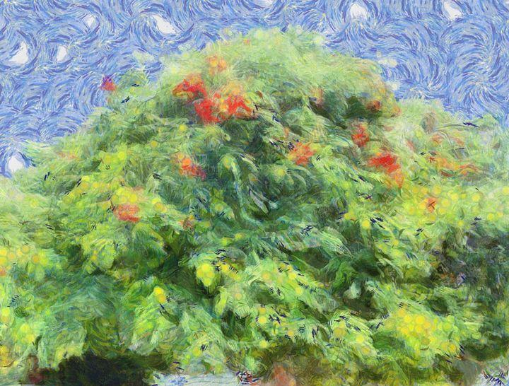 Tree with red flowers - nova