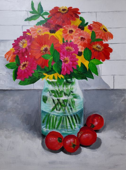Dahlia flowers and tomatoes on base - Brier Patch Paintings by Yuhyun