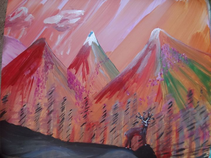 Deer and mountain at dusk - Keith Aumiller