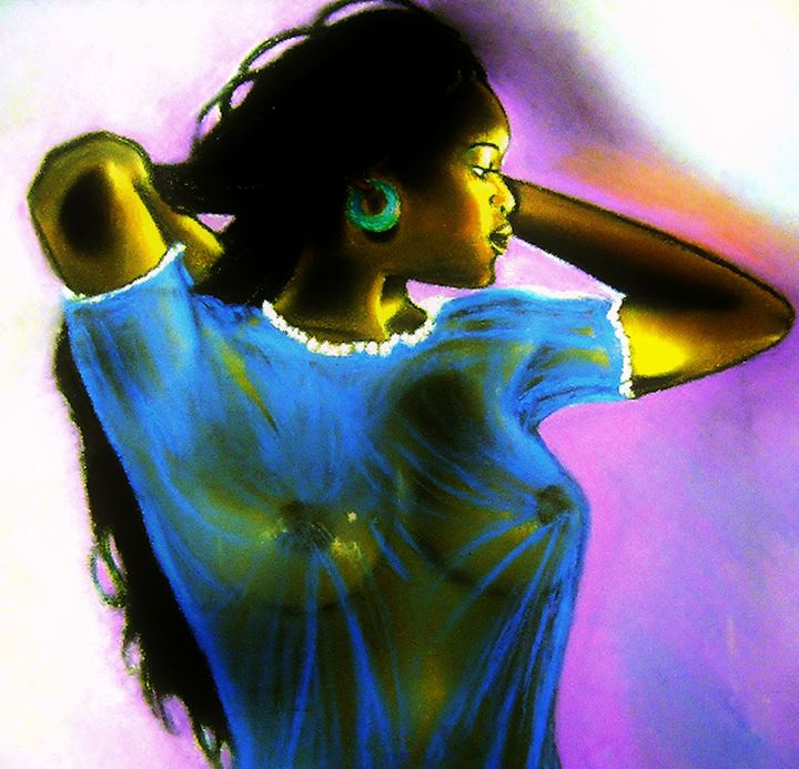 Black Woman In Blue - frandiodore