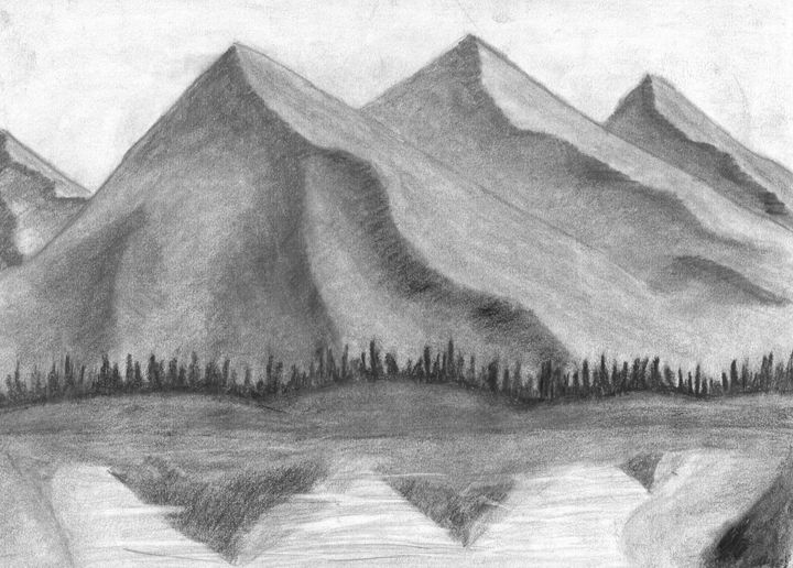 Mountain View Jaden L Drawings Illustration Landscapes