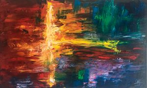 A - Abstract colourful acrylic paint