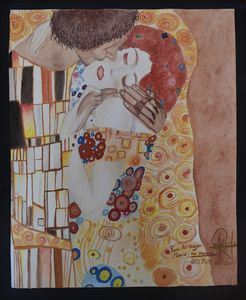 A - The kiss water-colour (G. Klimt)