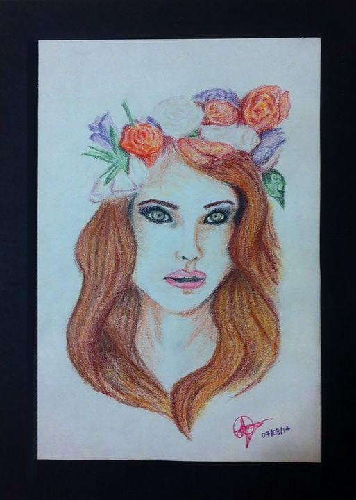 A - Color Pencil Portrait - Lola Bolena
