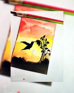 Sunset| bird| Watercolor Painting