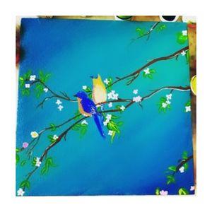 Acrylic bird painting on canvas