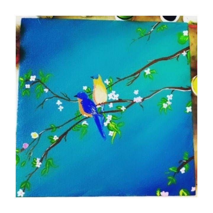 Acrylic bird painting on canvas - Lakshmi Creation Store 💜