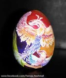 original painting on a clay egg