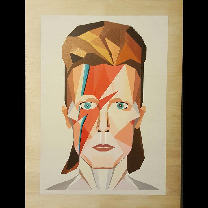 David Bowie Geometric Portrait - Paintings by Esteban Barron