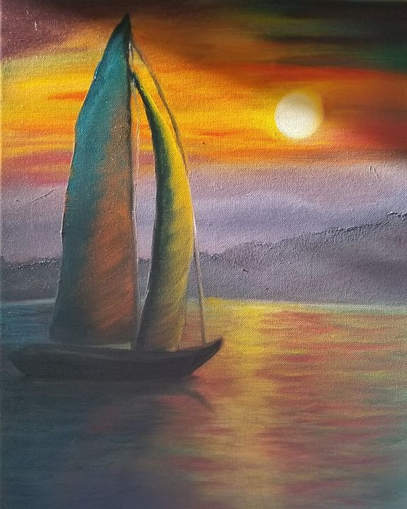 Sunset sailboat - Paintings by J. Silverman