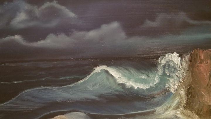 Crashing waves at night - Paintings by J. Silverman
