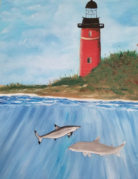 Ponce inlet lighthouse with sharks - Paintings by J. Silverman