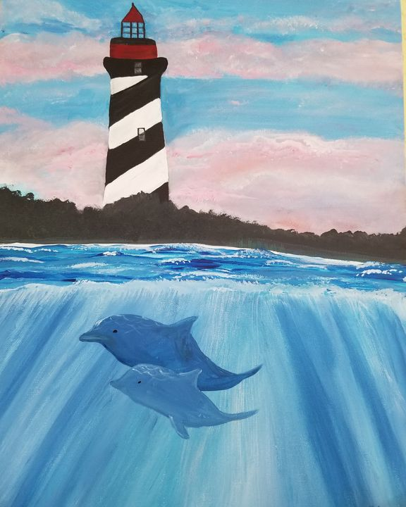 St. Augustine lighthouse with dolphi - Paintings by J. Silverman