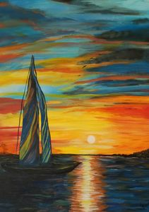 Sunset sailboat in Acrylic