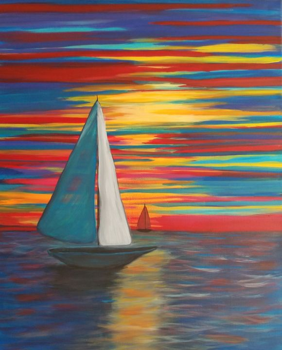 Sunset sailboat II - Paintings by J. Silverman
