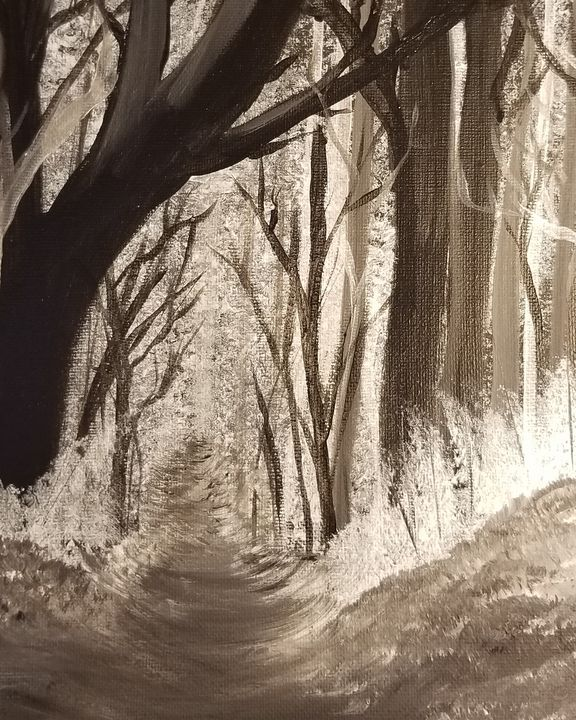 Black and white path - Paintings by J. Silverman
