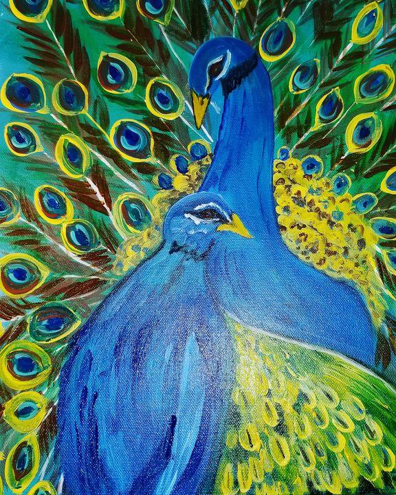Pretty peacocks - Paintings by J. Silverman