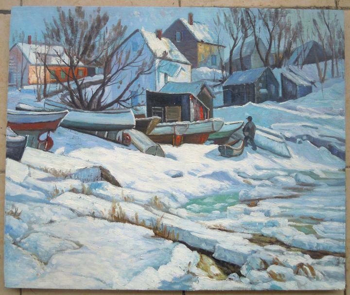 Village--Oil painting on canvas - SunBirdArt
