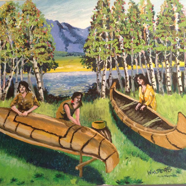 Native American repairing canoes - walter Buranen