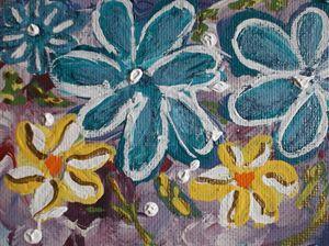 Blue  Sparkle Daisies