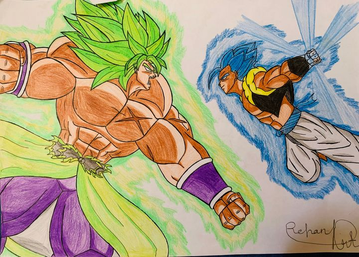 Epic fight of gogeta blue and broly - DB art site