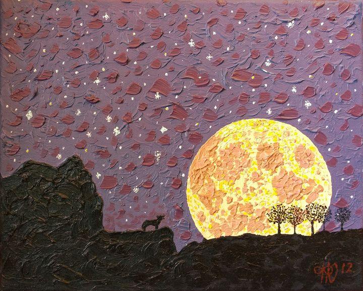 Harvest Wolf Moon - Philip's Oil Paintings