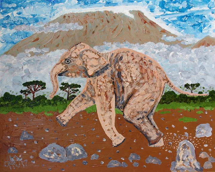 Elephant Manjaro - Philip's Oil Paintings