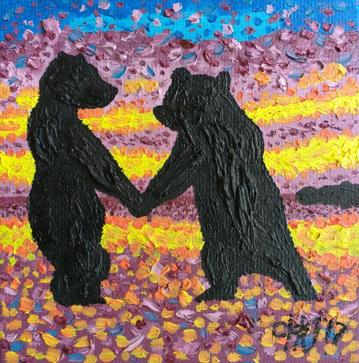 Bear cubs Dance - Philip's Oil Paintings