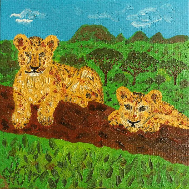 Lion cubs - Philip's Oil Paintings