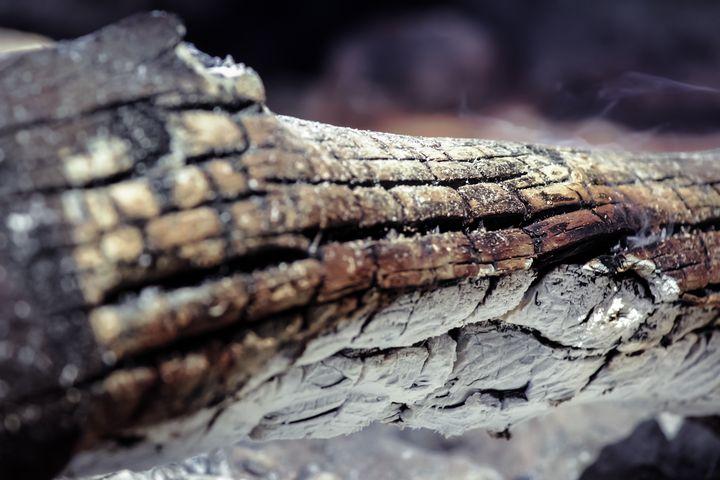Log burned in stones bonfire - Maor Winetrob
