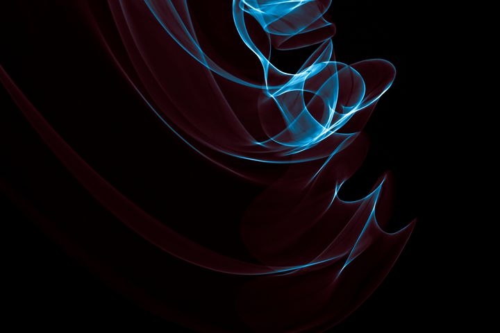 Glowing abstract curved blue and red - Maor Winetrob