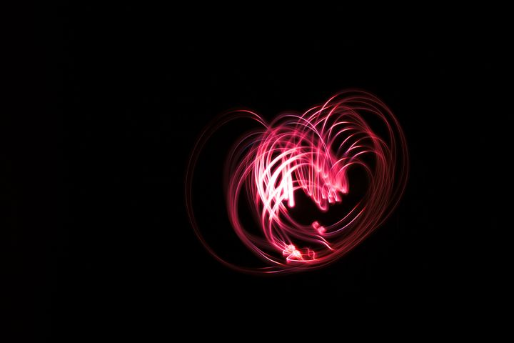 Heart shaped glowing abstract lines - Maor Winetrob