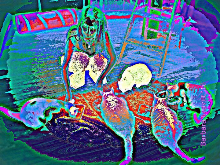 Cheryl Feeding Her Cats  13   #1 - barbara leavitt