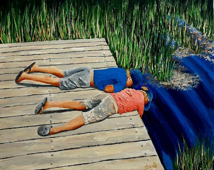 Beneath the waters they lie, - Eli Gross Art