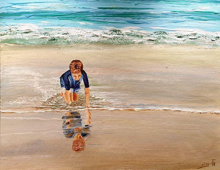 Looking in the still calm water - Eli Gross Art