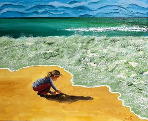 pulling a glob of sand