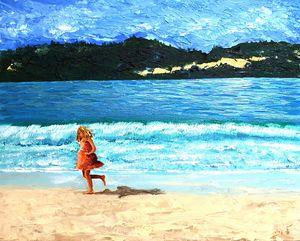 Running along the beach - Acrylic