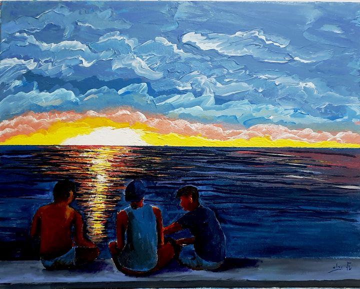 Discuss world affairs over sunset - - Eli Gross Art
