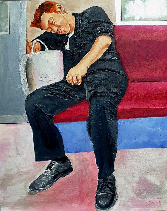 Don't Fall Asleep On The Subway - Eli Gross Art