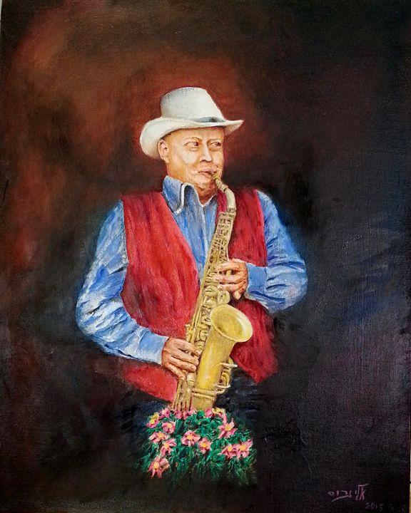 a guy on a saxophone baring his soul - Eli Gross Art