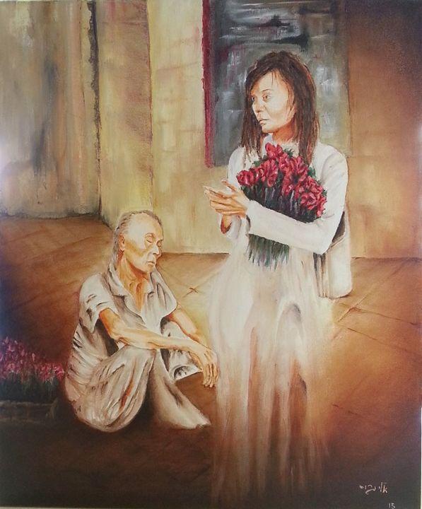 A flowers seller - Eli Gross Art
