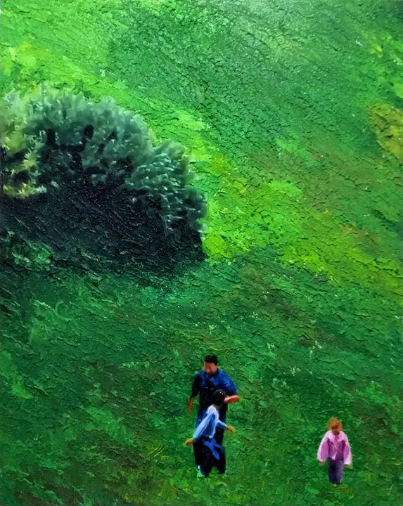 Running through the meadow, green co - Eli Gross Art