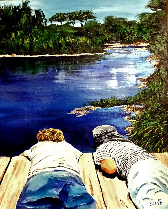 Waiting  for the ripples to kiss the - Eli Gross Art