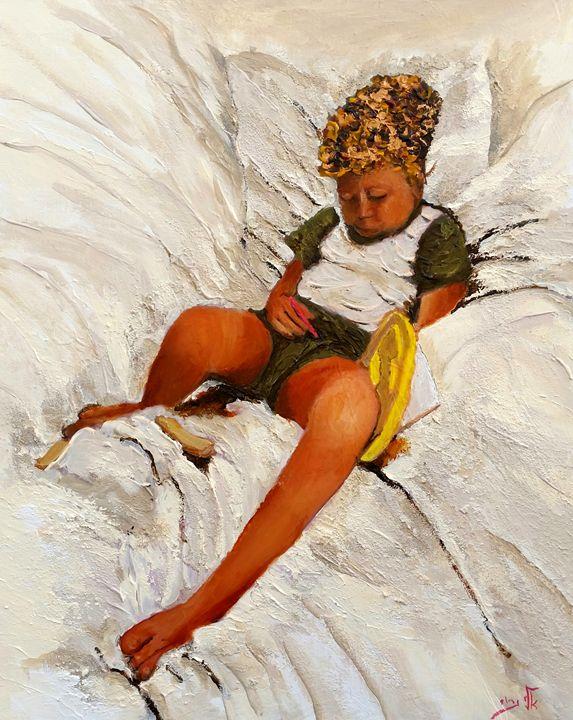 fall asleep while playing - Eli Gross Art