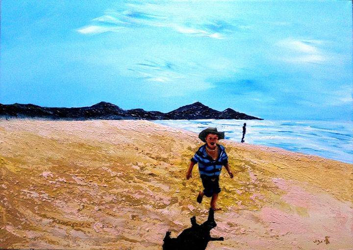 playing at the seashore - Eli Gross Art